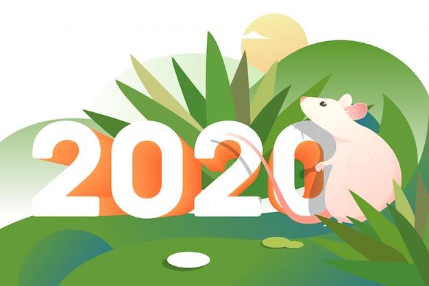 Rato-de-rosa dos desenhos animados ao ar livre com dois mil e vinte números