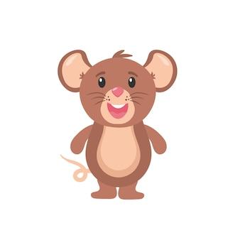 Rato desenho animado animal pequeno roedor adorável feliz alegre mascote rato com caráter de ratos de comida