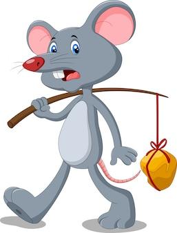 Rato dos desenhos animados, carregando pedaços de ouro