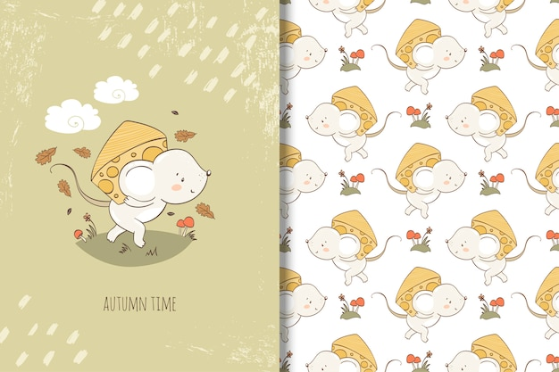Rato dos desenhos animados com pedaço de ilustração de queijo. cartão e padrão sem emenda