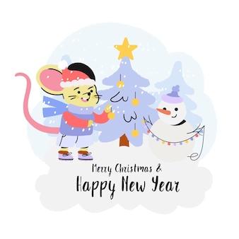 Rato e um boneco de neve decorando uma árvore de natal com festão.