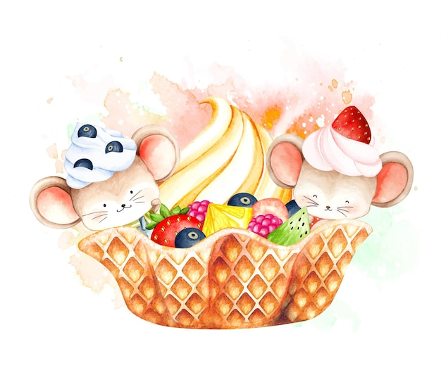Rato em aquarela e sorvete de frutas