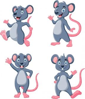 Rato engraçado dos desenhos animados, acenando conjunto de coleta