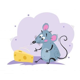 Rato engraçado dos desenhos animados cheirando o queijo. símbolo chinês do ano 2020. mascote em quadrinhos sentado. personagem de rato ou mouse. animal roedor.