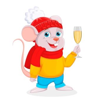 Rato engraçado dos desenhos animados detém uma taça de champanhe