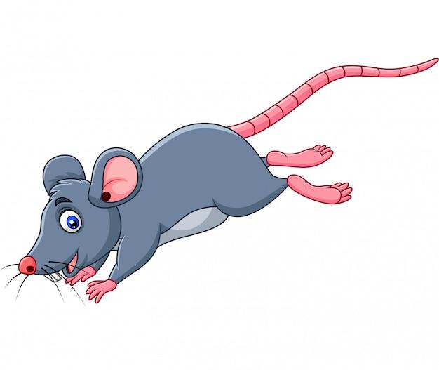 Rato engraçado dos desenhos animados pulando