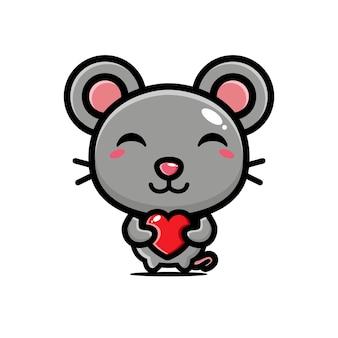 Rato fofo abraçando coração de amor