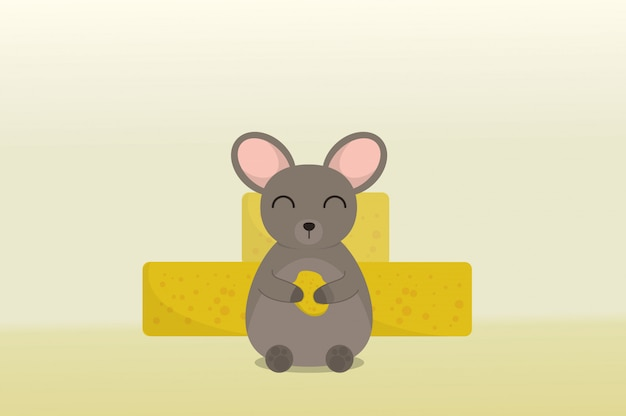 Rato fofo carregando queijo em um queijo