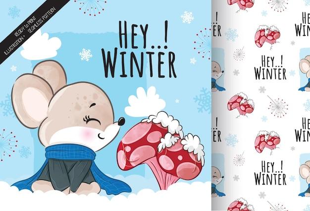 Rato fofo com ilustração de cogumelos na neve - ilustração de fundo