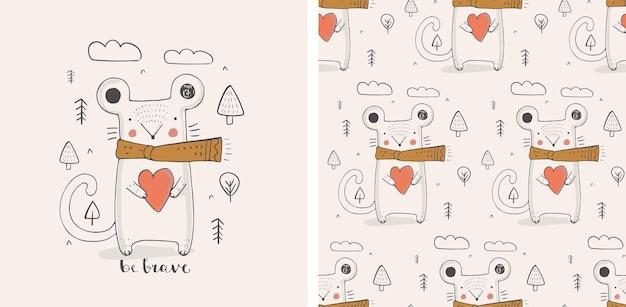 Rato fofo com o caractere de cor de coração desenhado à mão com padrão uniforme. pode ser usado para camisetas