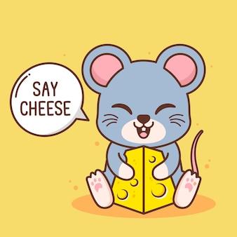 Rato fofo com um pedaço de queijo