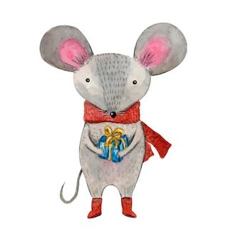 Rato fofo em aquarela de natal com caixa de presente