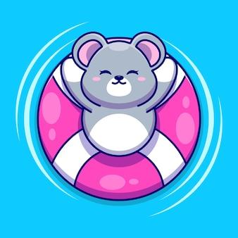 Rato fofo flutuando com desenho do anel de natação