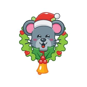 Rato fofo no dia de natal ilustração fofa dos desenhos animados de natal