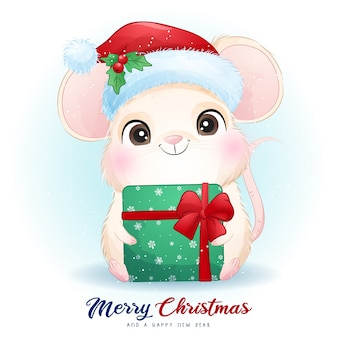 Rato fofo para o dia de natal com ilustração em aquarela
