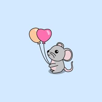 Rato fofo segurando balões de desenho animado