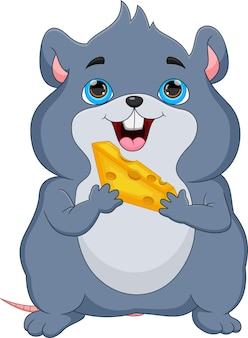 Rato gordo de desenho animado segurando queijo