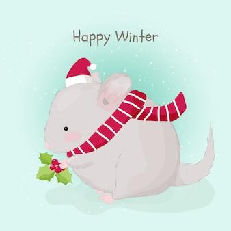 Rato gordo desenhado à mão bonito usando chapéu de papai noel