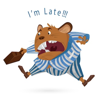 Rato grande chefe atrasado para o trabalho