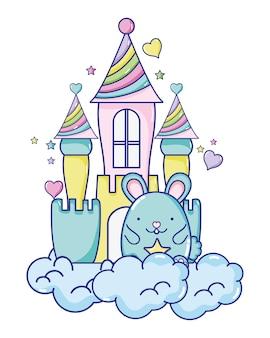 Rato macho bonito no castelo e nuvens