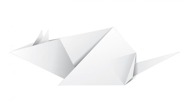 Rato origami em papel branco