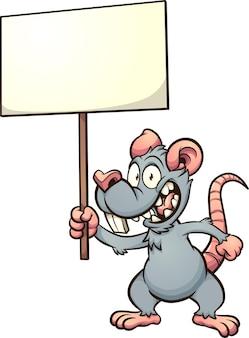 Rato ou rato de desenho animado segurando uma placa em branco