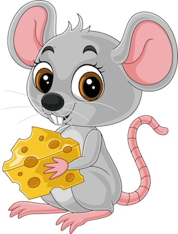 Rato pequeno e fofo de desenho animado segurando um queijo