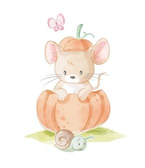 Rato pequeno fofo com ilustração de abóbora e pequeno caracol