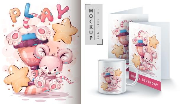 Rato vencedor com uma xícara - ilustração e merchandising