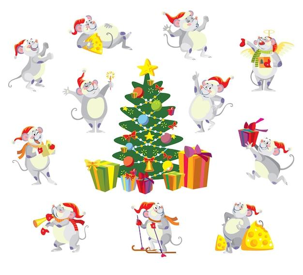Ratos bonitos com árvore de natal. ilustração do vetor dos desenhos animados.