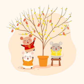Ratos fofos com uma árvore de damasco
