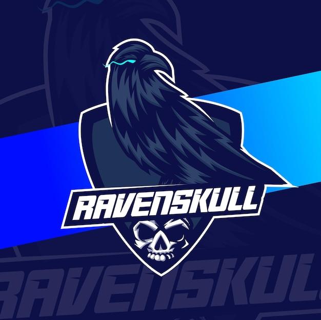 Raven bird skull mascote esport design personagem para jogos esportivos e halloween