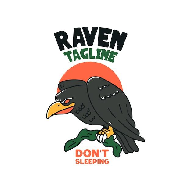 Raven with skull illustration character feliz dia das bruxas com corvo