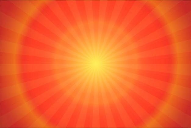 Ray e luz solar laranja quadrinhos cartoon fundo.