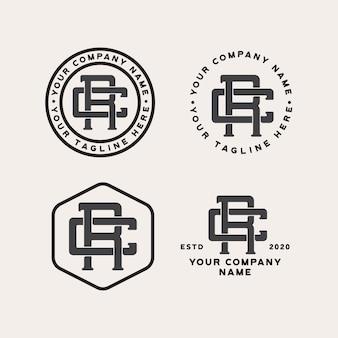 Rc monograma logotipo vintage isolado no branco