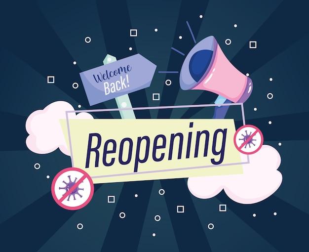 Reabertura de marketing de megafone anuncia ilustração de banner de boas-vindas
