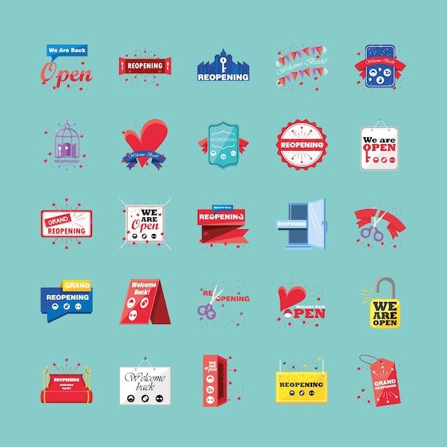 Reabertura de símbolos de estilo detalhados, design de shopping e vírus covid 19