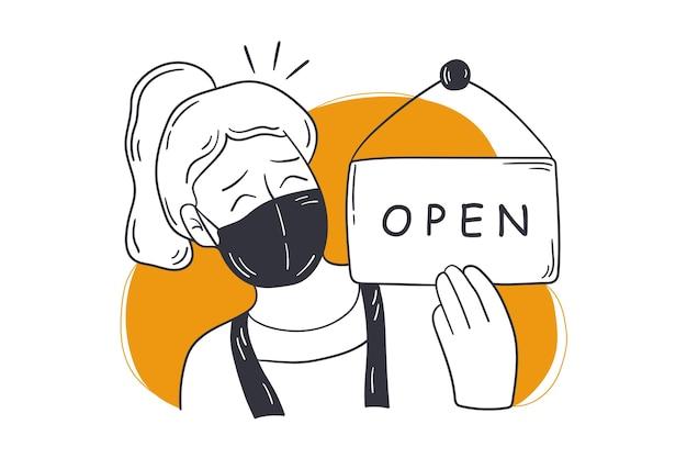 Reabertura, loja, conceito de pequena empresa.