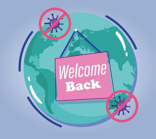 Reabertura, texto bem-vindo de volta, cartaz pendurado no planeta, coronavírus covid 19.
