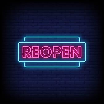 Reabrir sinais de néon estilo texto
