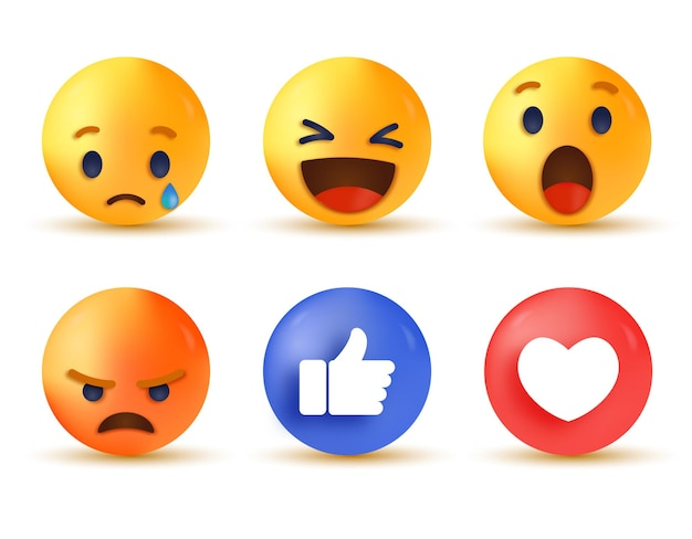 Reação em mídia social 3d - coleção de reações emoji