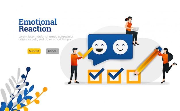 Reação emocional para usuários e desenvolvedores de aplicativos. ilustração vetorial de marketing e publicidade