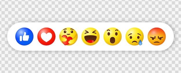 Reações de emoji do facebook e ícones de notificação de mídia social