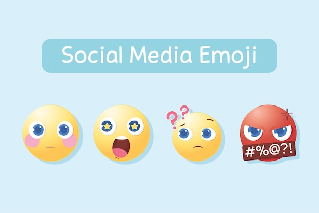 Reações de ícones de emoji de mídia social para ilustração de bate-papo e mensagens