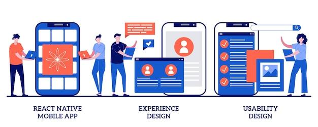 Reagir aplicativo móvel nativo, design de experiência, teste de usabilidade. conjunto de processo de desenvolvimento de aplicativo móvel