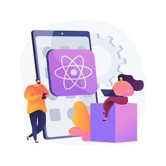 Reaja a ilustração do conceito abstrato de aplicativo móvel nativo. estrutura de desenvolvimento de aplicativo móvel nativo de plataforma cruzada, biblioteca javascript, interface do usuário, sistema operacional