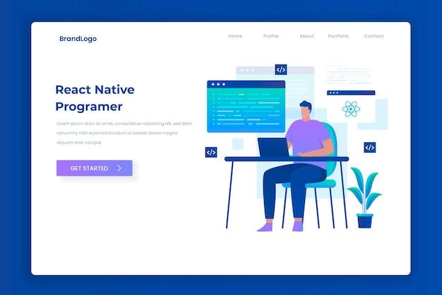 Reaja o conceito de página de destino de ilustração de programador nativo. ilustração para sites, páginas de destino, aplicativos móveis, cartazes e banners.