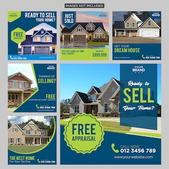 Real estate media social post template premium