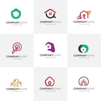 Real estate moderno apartamento minimalista gestão de propriedade de casa logos