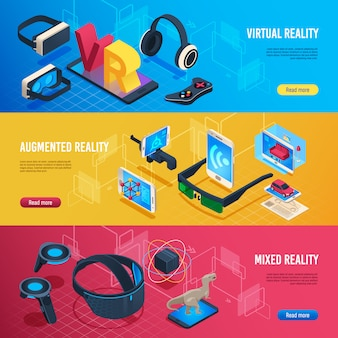 Realidade aumentada, banners isométricos de comunicação de fone de ouvido sem fio de realidade virtual